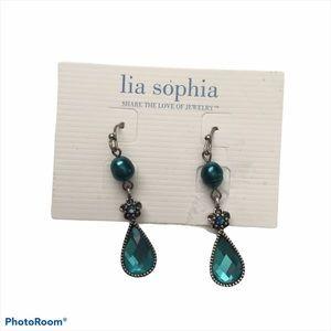 NEW Lia Sophia Teal Teardrop Dangle Earrings